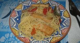 Spaghete picante cu carne(Esparguete picante com carne grilhada)
